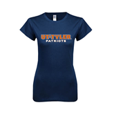 Next Level Ladies SoftStyle Junior Fitted Navy Tee-UT Tyler Patriots