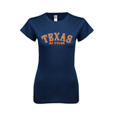 Next Level Ladies SoftStyle Junior Fitted Navy Tee-Texas at Tyler