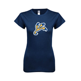 Next Level Ladies SoftStyle Junior Fitted Navy Tee-Eagle Talon