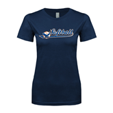 Next Level Ladies SoftStyle Junior Fitted Navy Tee-Softball Lady Design
