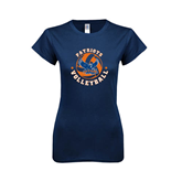 Next Level Ladies SoftStyle Junior Fitted Navy Tee-Volleyball Design