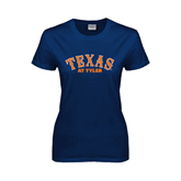 Ladies Navy T Shirt-Texas at Tyler