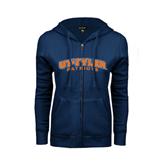 ENZA Ladies Navy Fleece Full Zip Hoodie-UT Tyler Arched