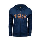 ENZA Ladies Navy Fleece Full Zip Hoodie-Texas at Tyler