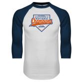 White/Navy Raglan Baseball T Shirt-Championship Gear