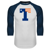 White/Navy Raglan Baseball T Shirt-Flag T