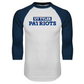 White/Navy Raglan Baseball T Shirt-UT Tyler in Box Patriots