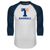 White/Navy Raglan Baseball T Shirt-Flag T - Baseball