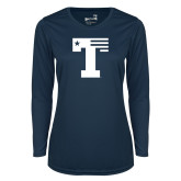 Ladies Syntrel Performance Navy Longsleeve Shirt-Flag T