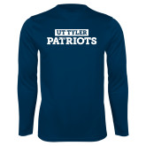 Performance Navy Longsleeve Shirt-UT Tyler in Box Patriots