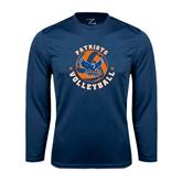 Syntrel Performance Navy Longsleeve Shirt-Volleyball Design