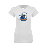 Next Level Ladies SoftStyle Junior Fitted White Tee-UT Tyler w/ Eagle Head