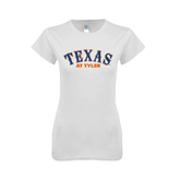 Next Level Ladies SoftStyle Junior Fitted White Tee-Texas at Tyler