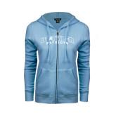 ENZA Ladies Light Blue Fleece Full Zip Hoodie-UT Tyler Arched