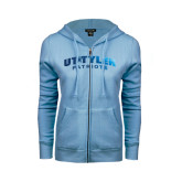 ENZA Ladies Light Blue Fleece Full Zip Hoodie-UT Tyler Arched Foil