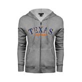 ENZA Ladies Grey Fleece Full Zip Hoodie-Texas at Tyler