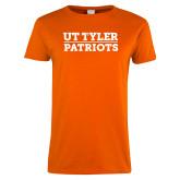 Ladies Orange T Shirt-UT Tyler Patriots Stacked