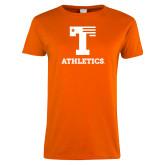 Ladies Orange T Shirt-UT Tyler Atletics Stacked