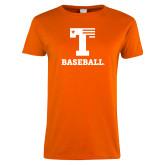 Ladies Orange T Shirt-Flag T - Baseball