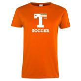 Ladies Orange T Shirt-Flag T - Soccer