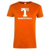 Ladies Orange T Shirt-Flag T - Basketball