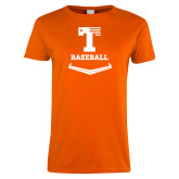 Ladies Orange T Shirt-Baseball Plate