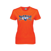 Ladies Orange T Shirt-Baseball Crossed Bats