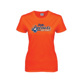 Ladies Orange T Shirt-Softball Lady Design