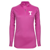 Ladies Syntrel Interlock Raspberry 1/4 Zip-Flag T