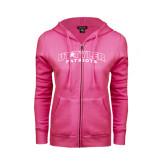 ENZA Ladies Fuchsia Fleece Full Zip Hoodie-UT Tyler Arched