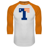 White/Orange Raglan Baseball T Shirt-Flag T
