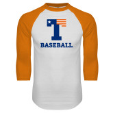 White/Orange Raglan Baseball T Shirt-Flag T - Baseball