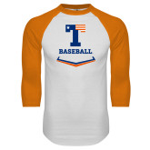 White/Orange Raglan Baseball T Shirt-Baseball Plate