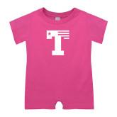 Bubble Gum Pink Infant Romper-Flag T