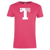 Ladies Fuchsia T Shirt-Flag T