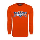 Orange Long Sleeve T Shirt-Baseball Crossed Bats
