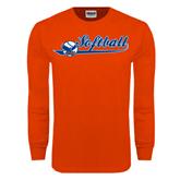 Orange Long Sleeve T Shirt-Softball Lady Design