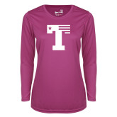 Ladies Syntrel Performance Raspberry Longsleeve Shirt-Flag T