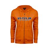 ENZA Ladies Orange Fleece Full Zip Hoodie-UT Tyler Patriots