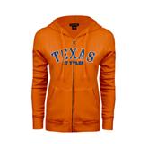 ENZA Ladies Orange Fleece Full Zip Hoodie-Texas at Tyler