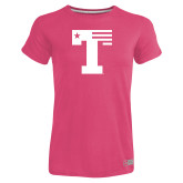 Ladies Russell Pink Essential T Shirt-Flag T