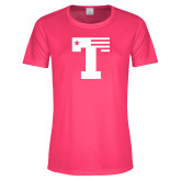 Ladies Performance Hot Pink Tee-Flag T