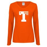 Ladies Orange Long Sleeve V Neck Tee-Flag T
