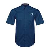Navy Twill Button Down Short Sleeve-UT Tyler w/ Eagle Head