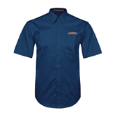 Navy Twill Button Down Short Sleeve-UT Tyler Arched