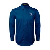 Navy Twill Button Down Long Sleeve-UT Tyler w/ Eagle Head