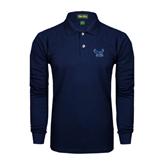 Navy Long Sleeve Polo-Official Logo