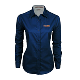 Ladies Navy Twill Button Down Long Sleeve-UT Tyler Arched