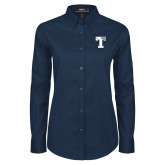 Ladies Navy Twill Button Down Long Sleeve-Flag T