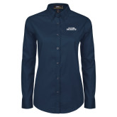 Ladies Navy Twill Button Down Long Sleeve-Primary Athletics Mark